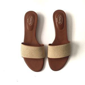 Talbots Woven Tan Leather Wide Band Vamp Sandals